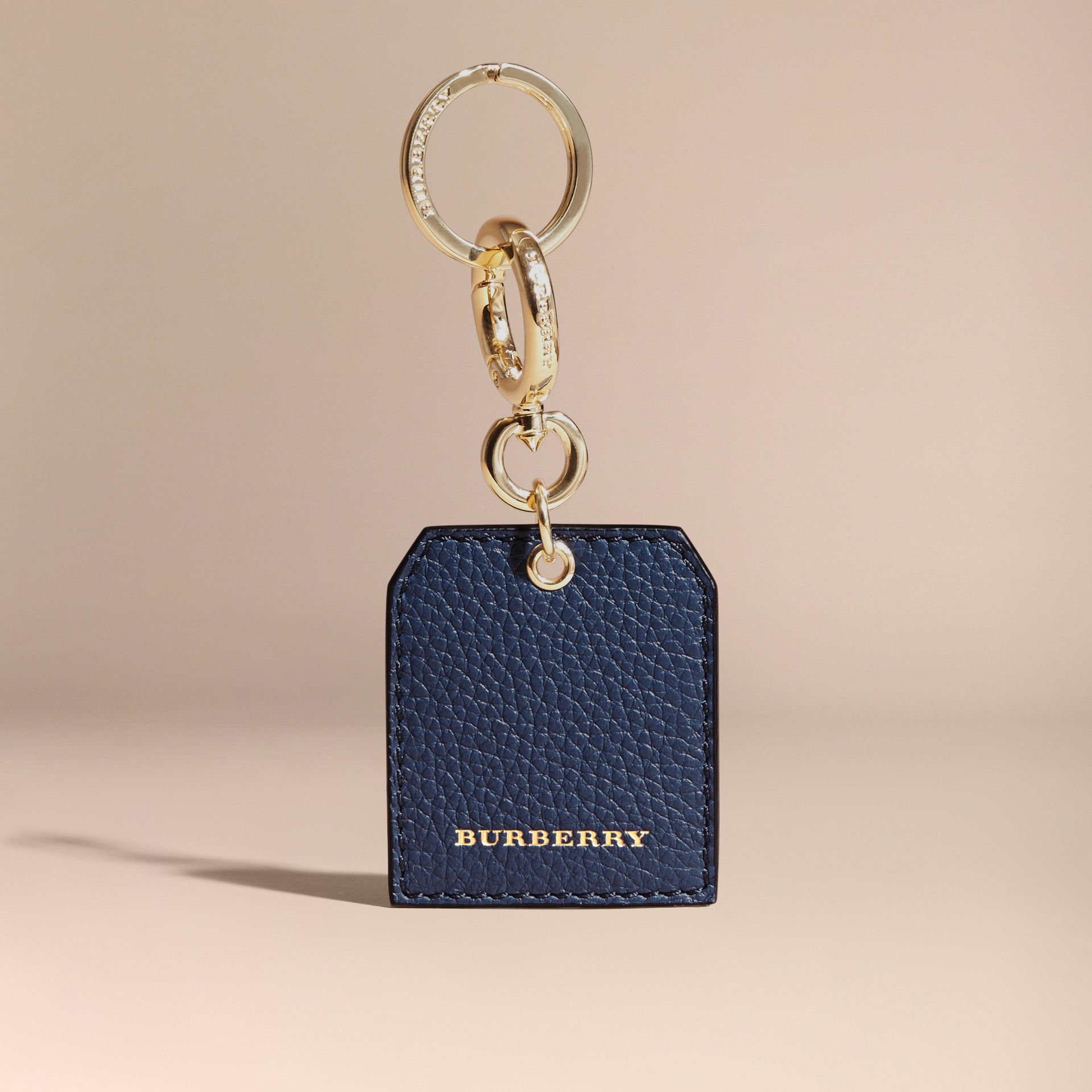 Grainy Leather Key Charm in Bright Navy - Women | Burberry Australia - gallery image 5