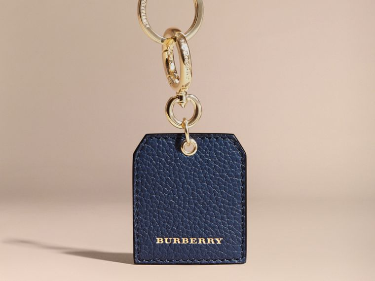 Grainy Leather Key Charm in Bright Navy - Women | Burberry Australia - cell image 4