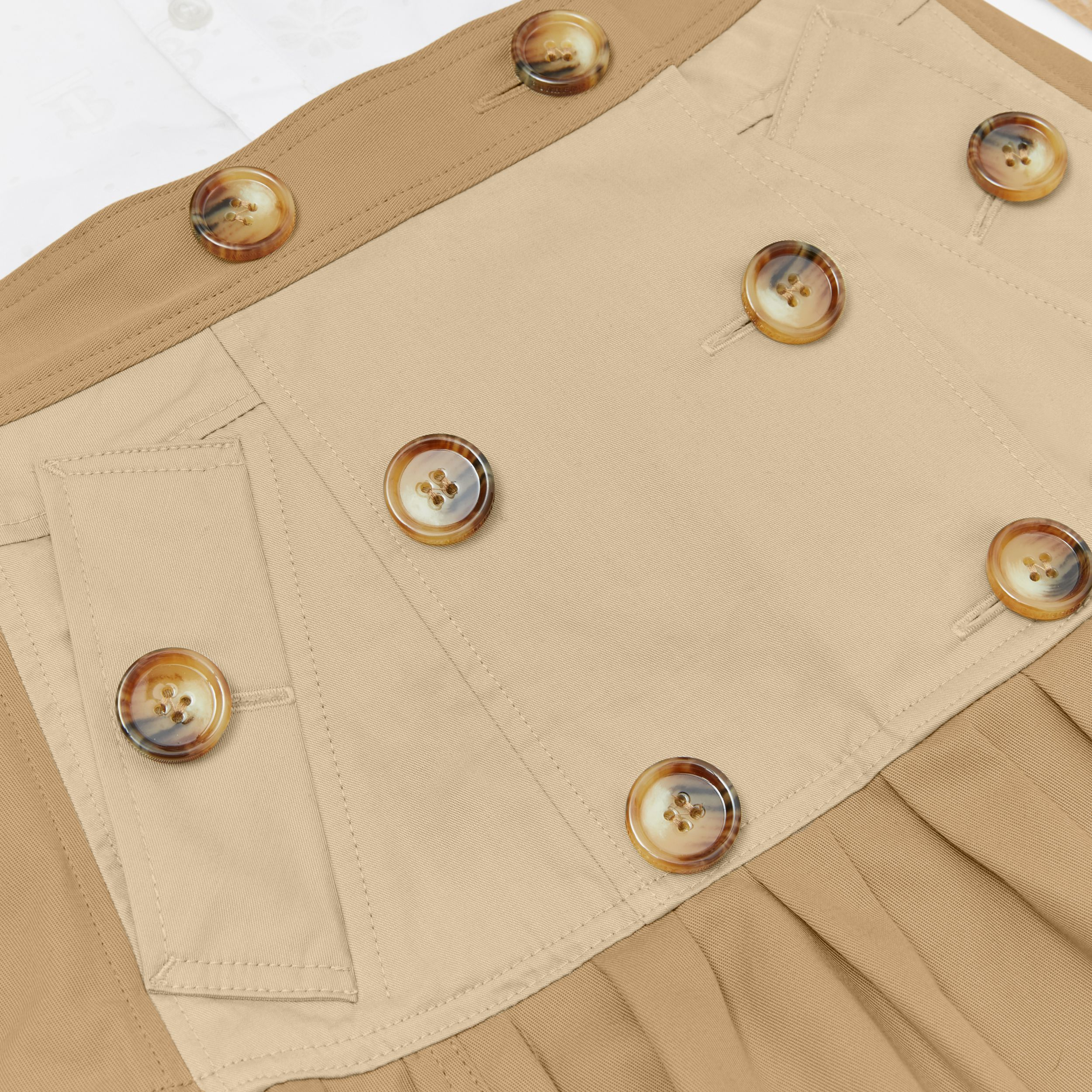 Gathered Cotton Twill Trench Skirt in Honey | Burberry - 2
