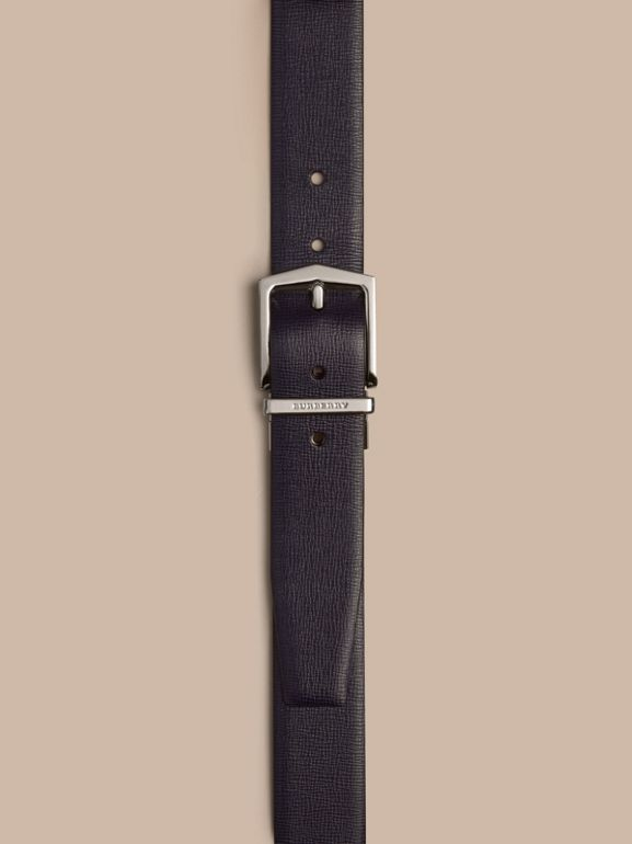 Reversible London Leather Belt in Dark Navy/black - Men | Burberry United States - cell image 1