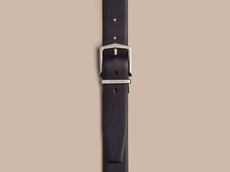 Reversible London Leather Belt in Dark Navy/black - Men | Burberry - cell image 1