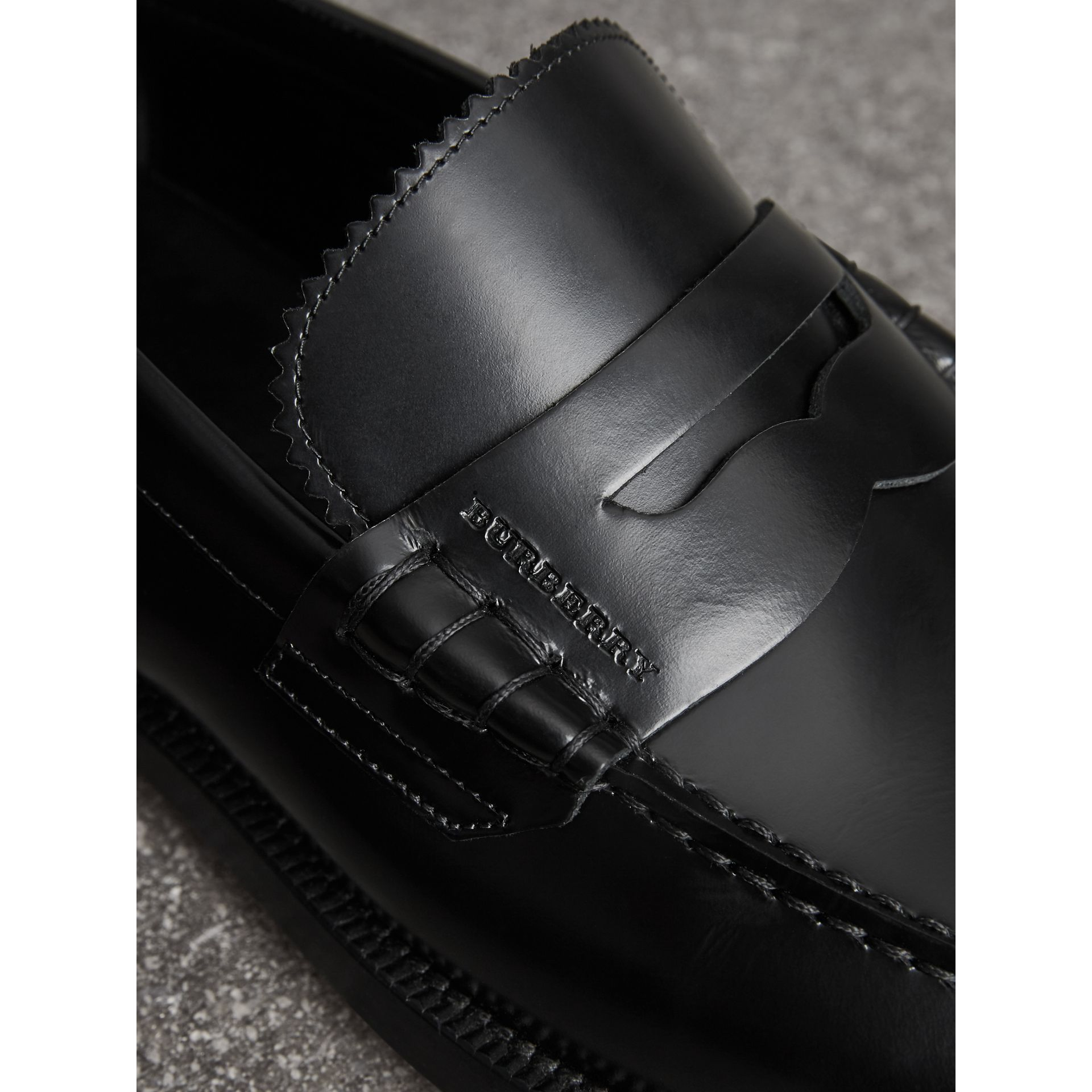Leather Penny Loafers in Black - Men | Burberry - gallery image 1