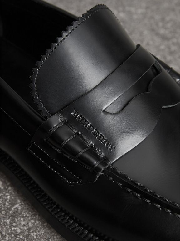 Leather Penny Loafers in Black - Men | Burberry United Kingdom - cell image 1