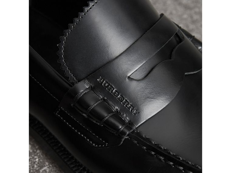 Leather Penny Loafers in Black - Men | Burberry - cell image 1