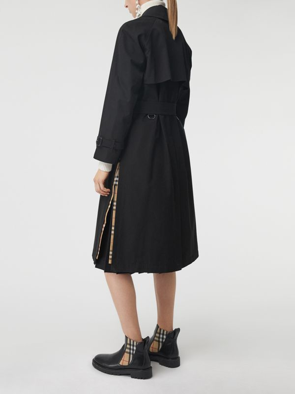 Side-slit Tropical Gabardine Trench Coat in Black - Women | Burberry - cell image 2