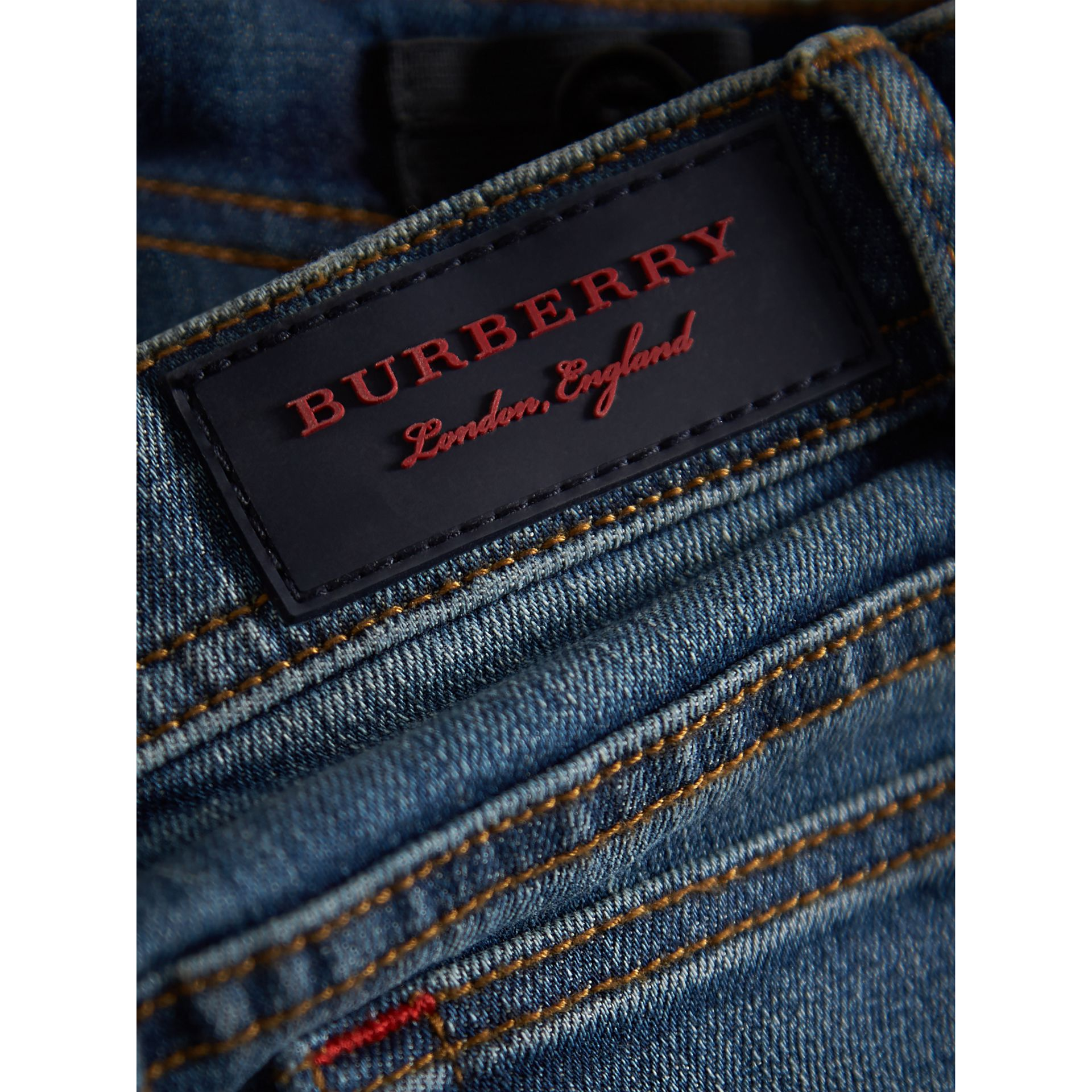 Skinny Fit Stretch Denim Jeans in Mid Indigo - Girl | Burberry United Kingdom - gallery image 1