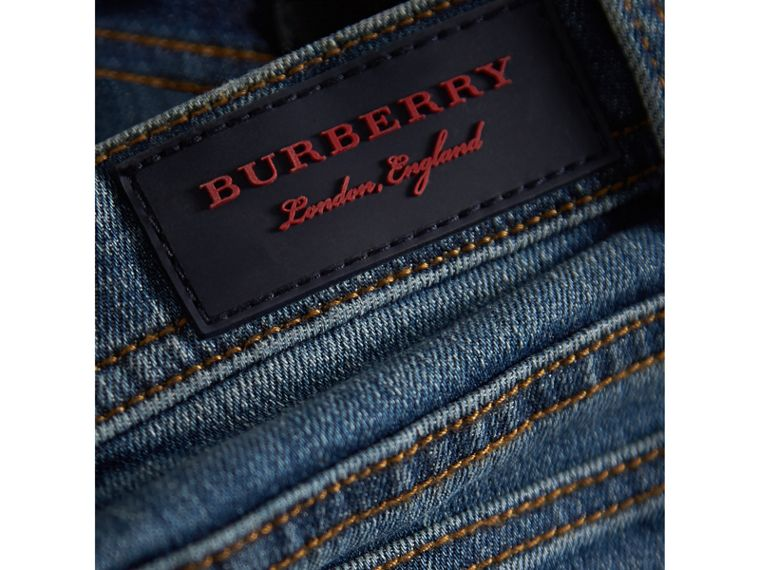 Skinny Fit Stretch Denim Jeans in Mid Indigo - Girl | Burberry - cell image 1