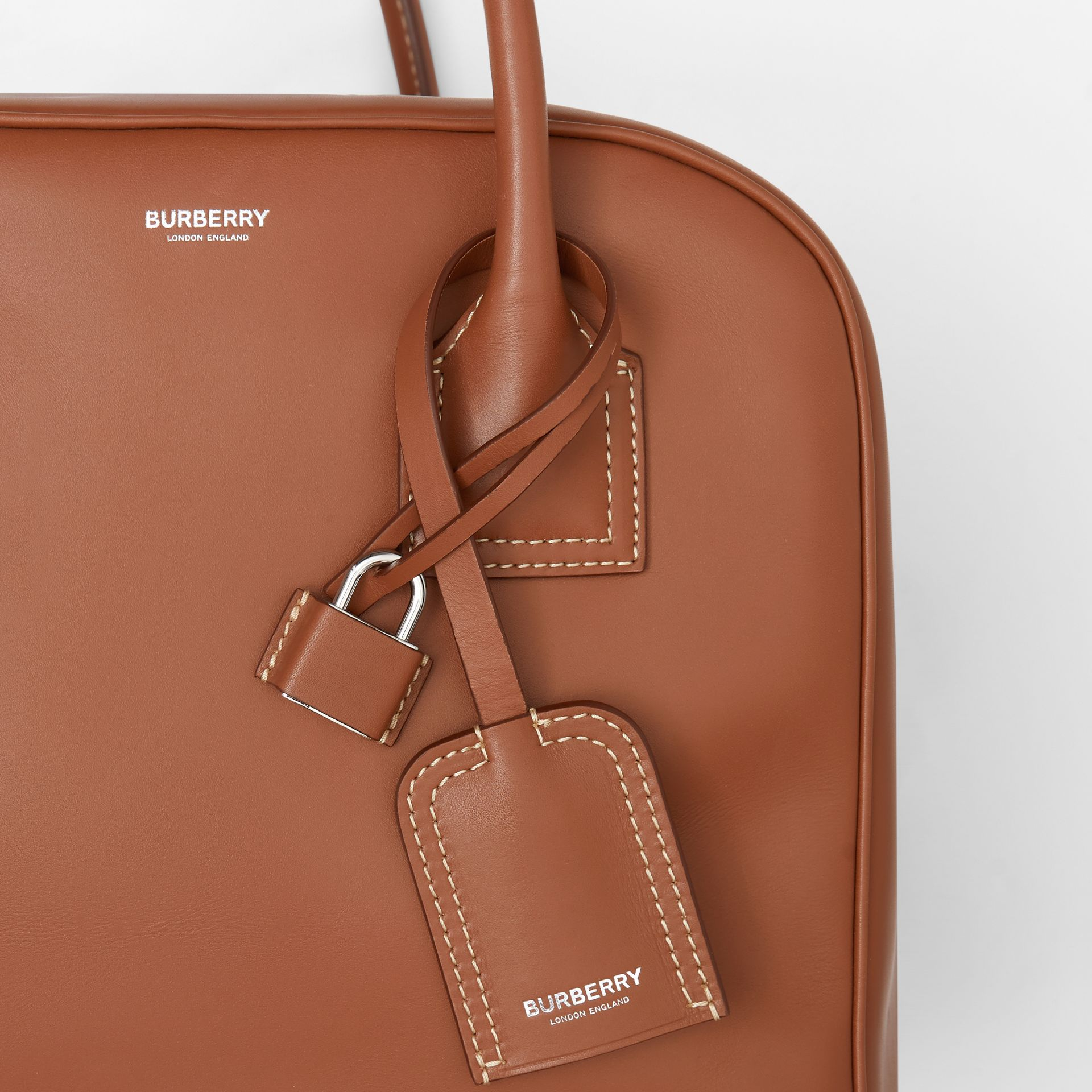 Medium Leather Cube Bag in Malt Brown - Women | Burberry - gallery image 8