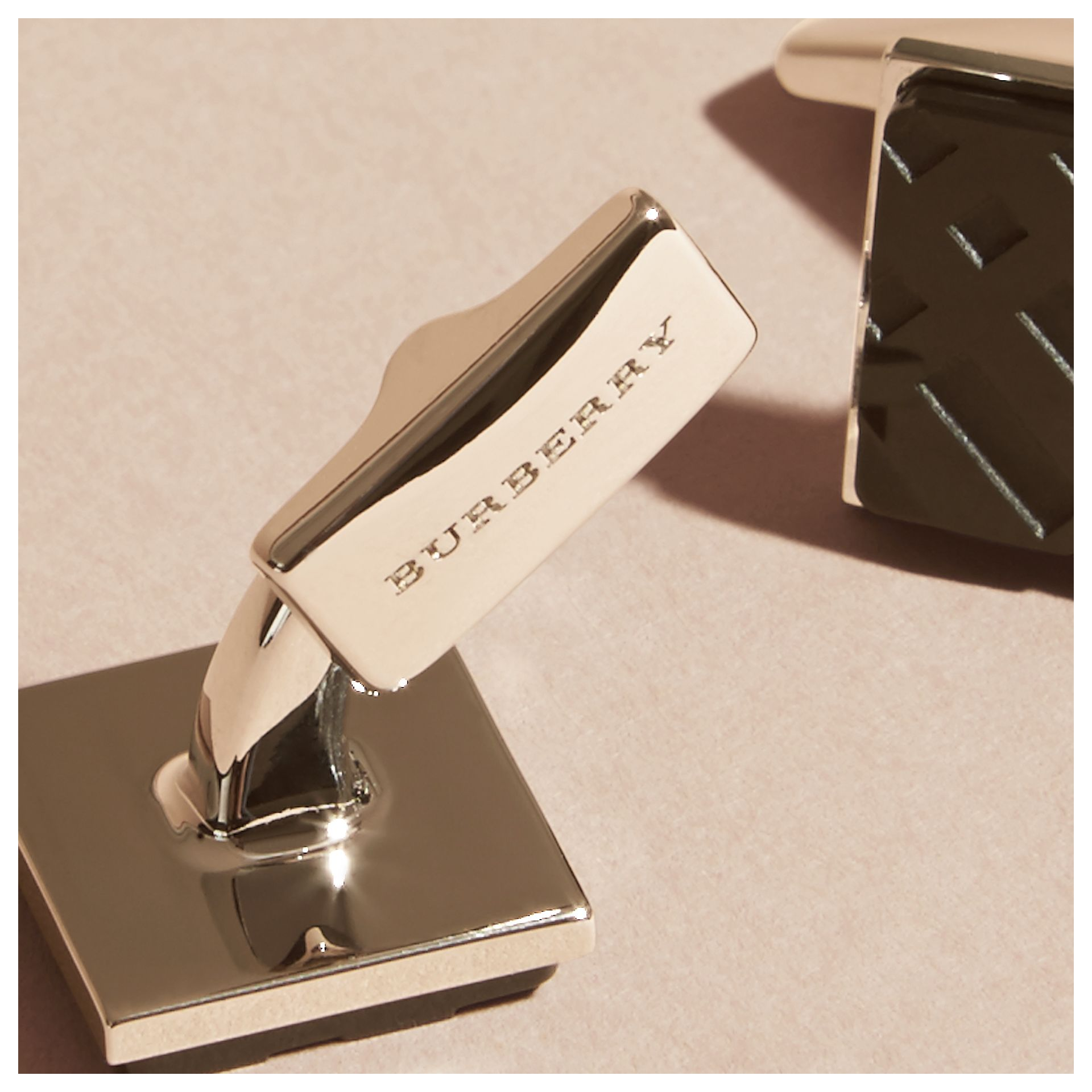 Check-engraved Square Cufflinks in Black - gallery image 3