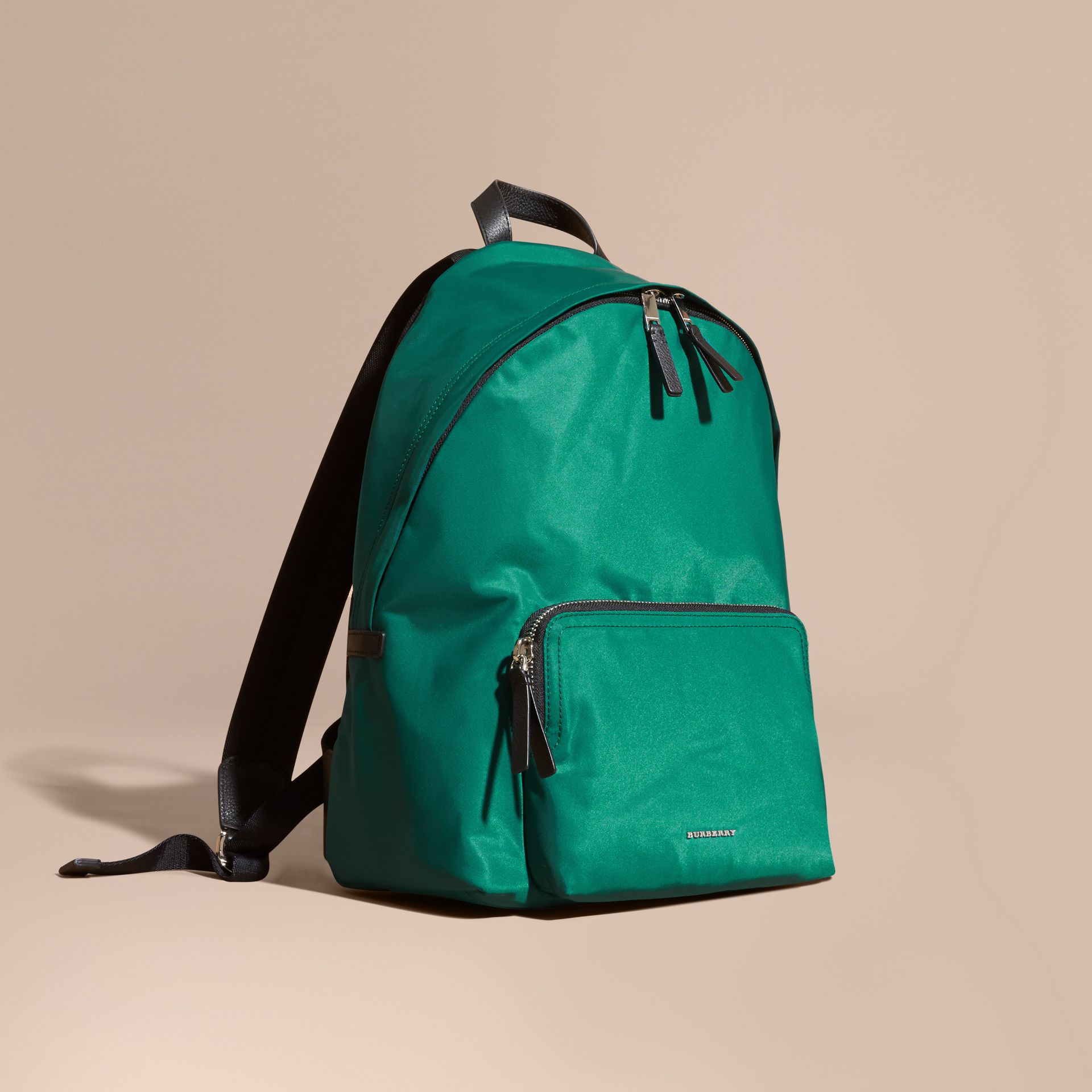 Pine green Leather Trim Nylon Backpack Pine Green - gallery image 1