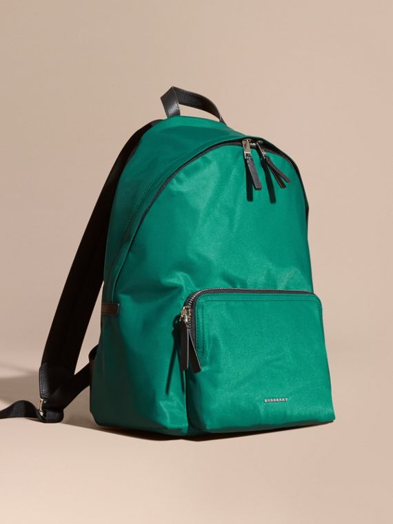 Leather Trim Nylon Backpack Pine Green