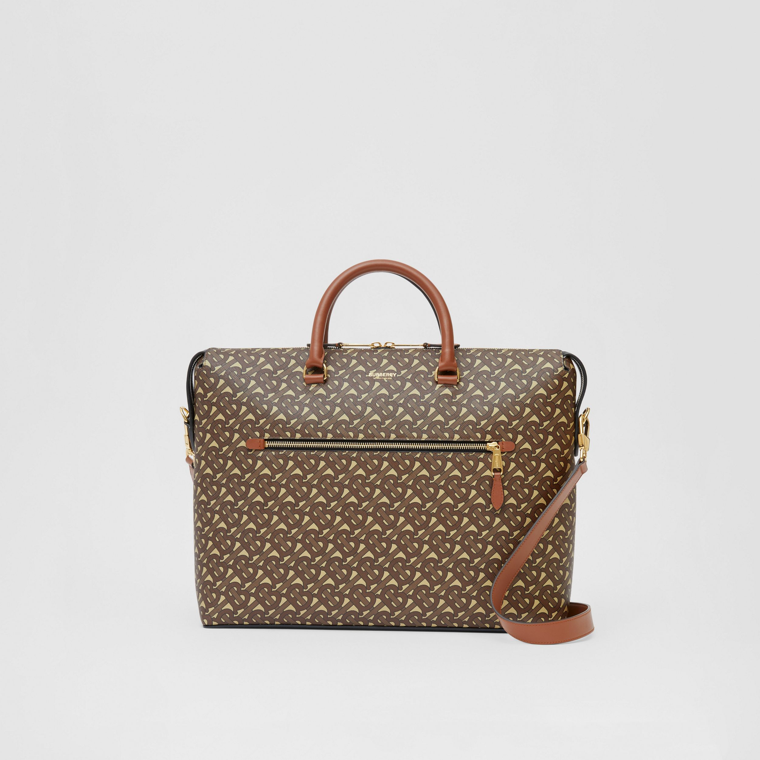Monogram E-canvas Briefcase in Bridle Brown - Men | Burberry - 1
