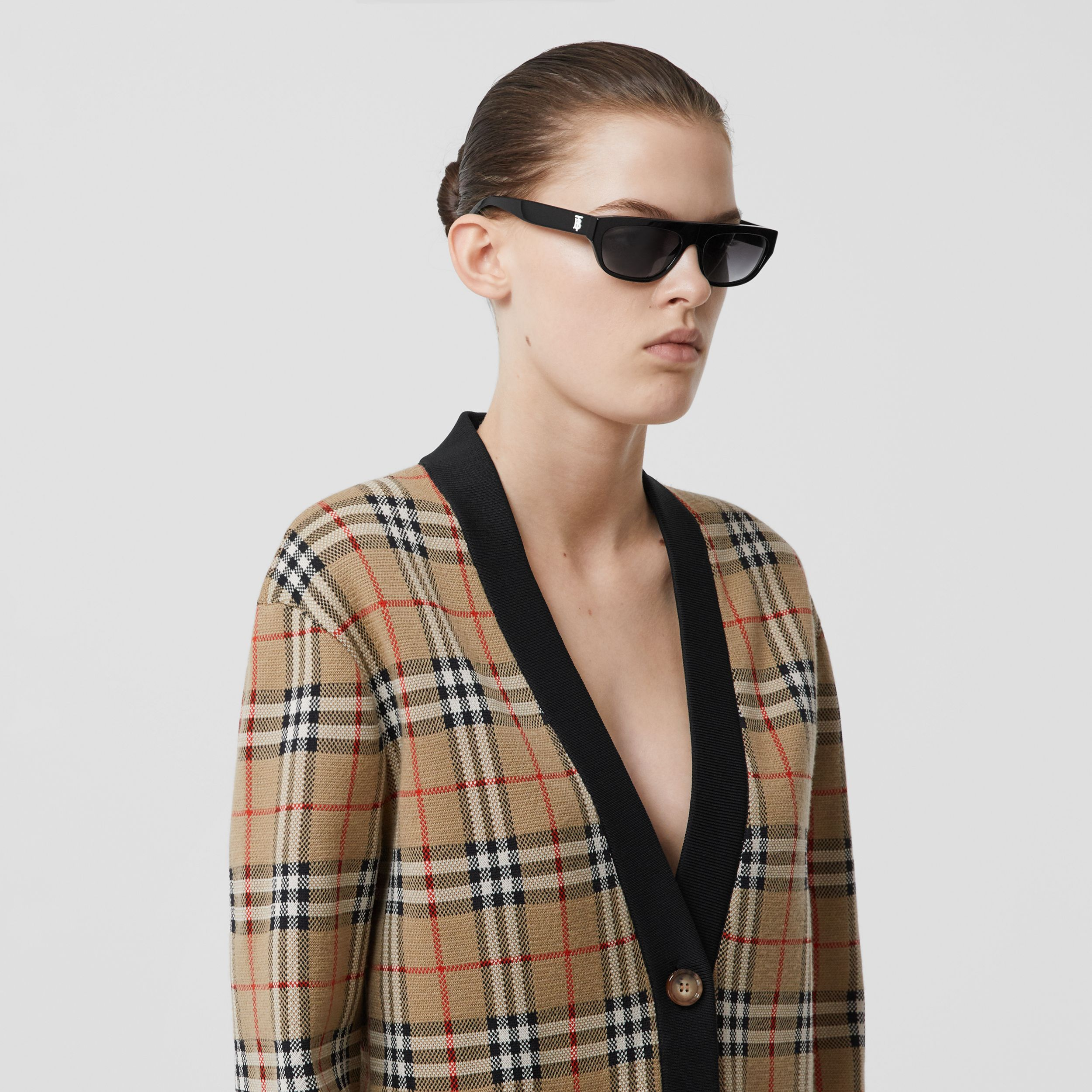Vintage Check Merino Wool Blend Jacquard Cardigan in Archive Beige - Women | Burberry Canada - 2