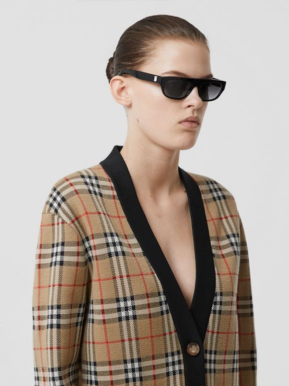 Vintage Check Merino Wool Blend Jacquard Cardigan in Archive Beige - Women   Burberry - cell image 1