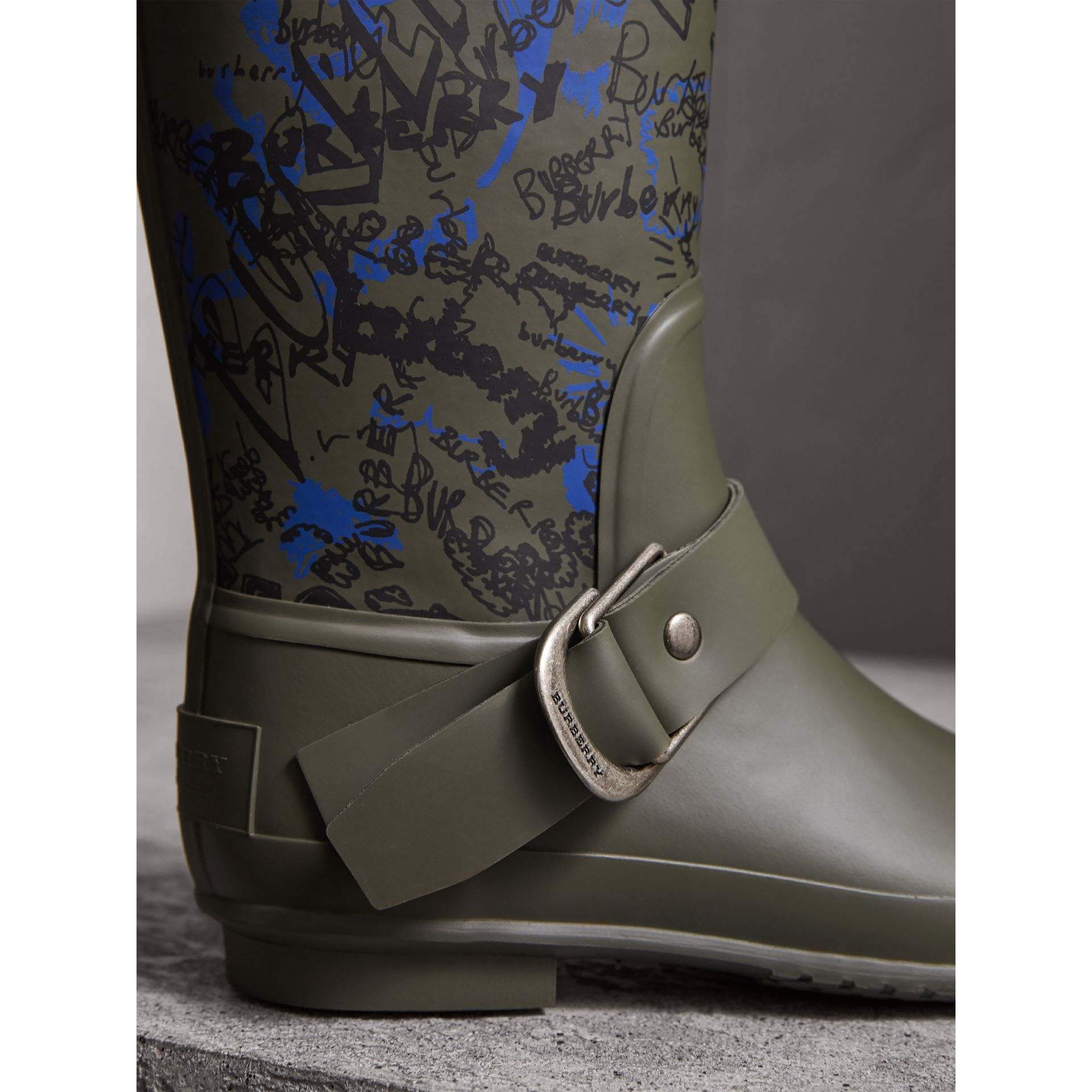 Doodle Print Rubber Rain Boots in Military Green - Women | Burberry Australia - gallery image 1