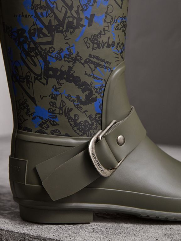 Doodle Print Rubber Rain Boots in Military Green - Women | Burberry - cell image 1