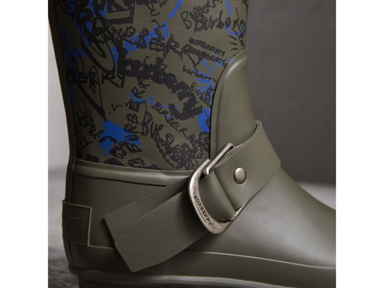 Doodle Print Rubber Rain Boots in Military Green - Women | Burberry Australia - cell image 1