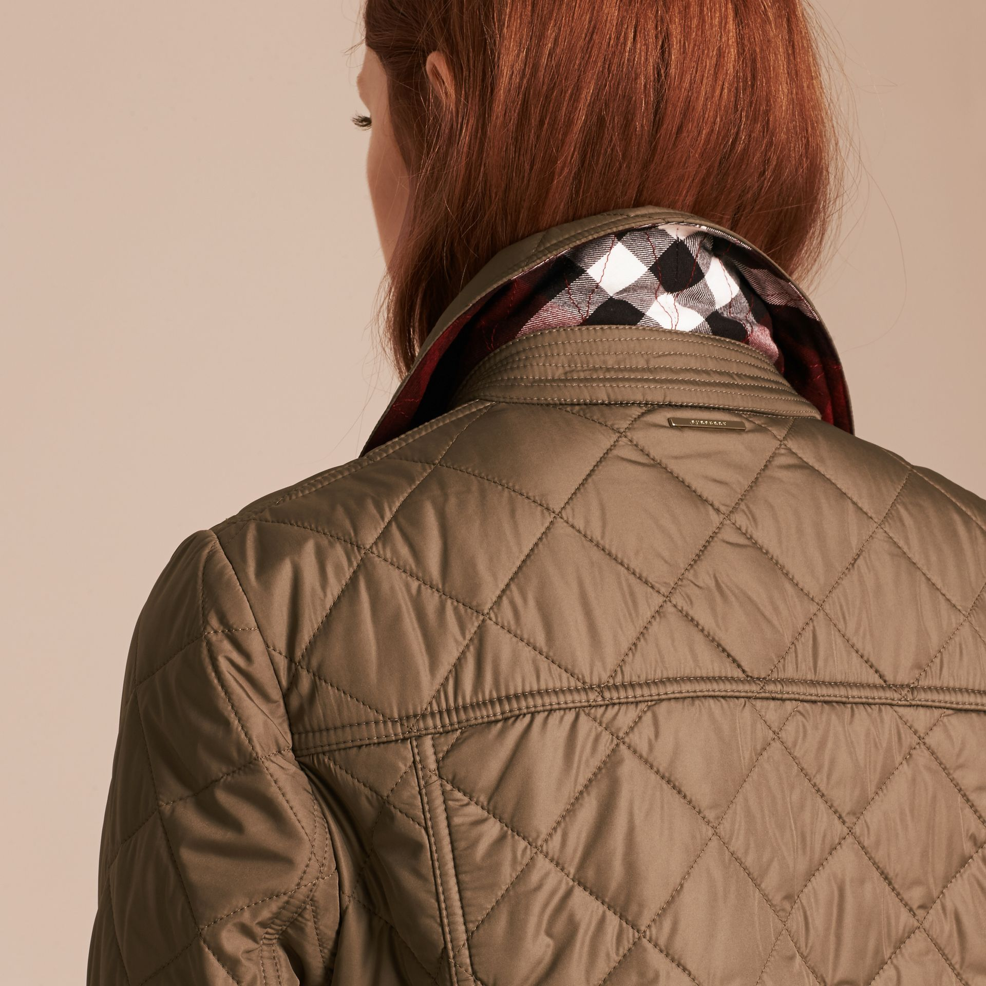 Mid taupe Check Lined Diamond Quilted Jacket Mid Taupe - gallery image 5