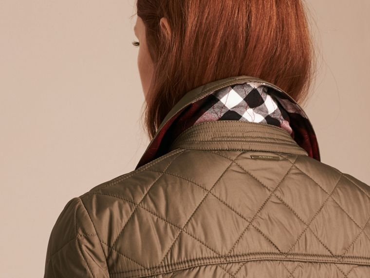 Mid taupe Check Lined Diamond Quilted Jacket Mid Taupe - cell image 4