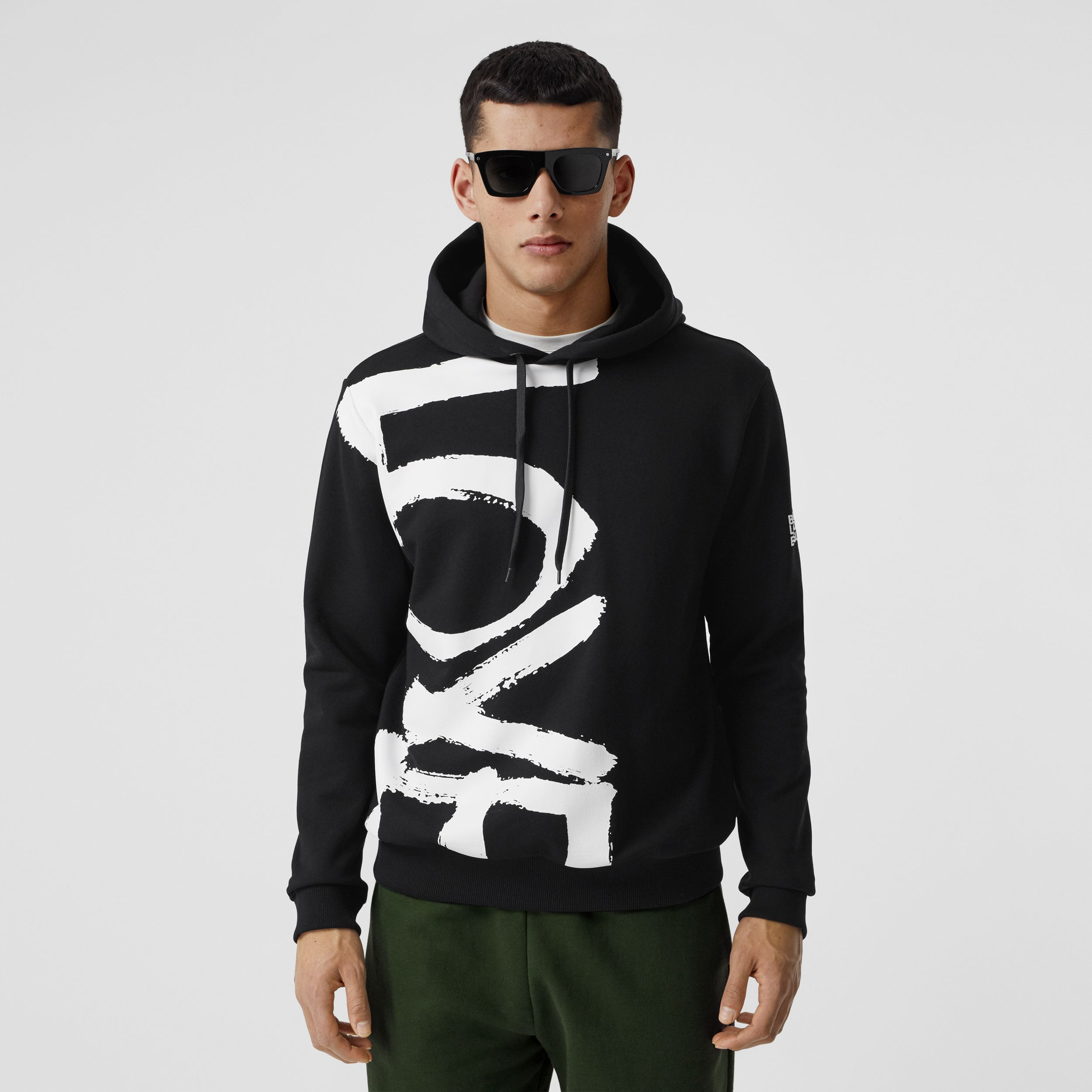 Love Print Cotton Hoodie in Black - Men | Burberry Singapore - 1