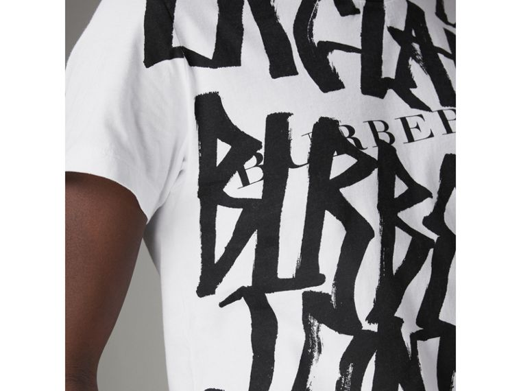 Graffiti Print Cotton T-shirt in White - Men | Burberry United States - cell image 1