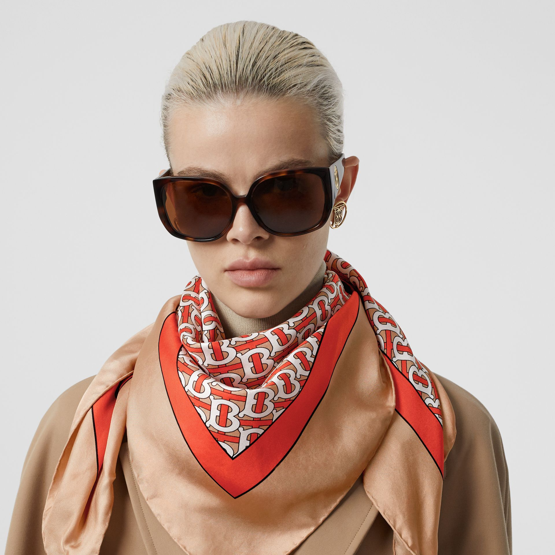 Monogram Print Silk Square Scarf in Vermilion - Women | Burberry - gallery image 7