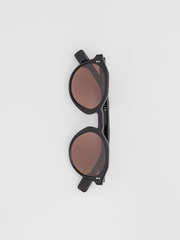 Keyhole Round Frame Sunglasses in Black - Men | Burberry - cell image 2