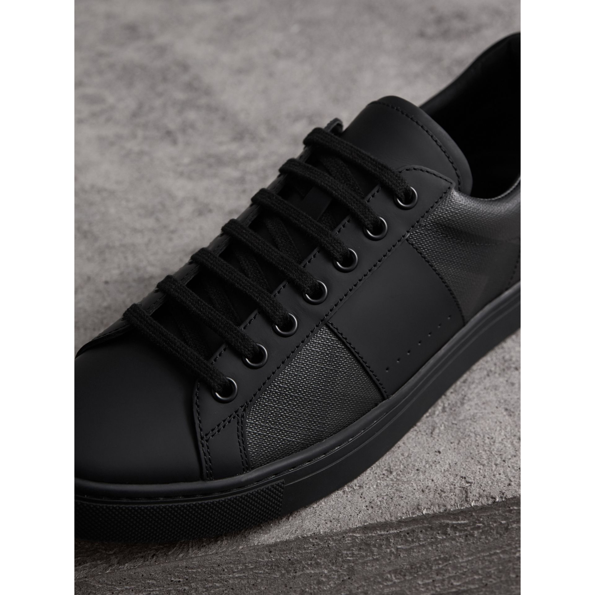 London Check and Leather Sneakers in Charcoal - Men | Burberry Canada - gallery image 1