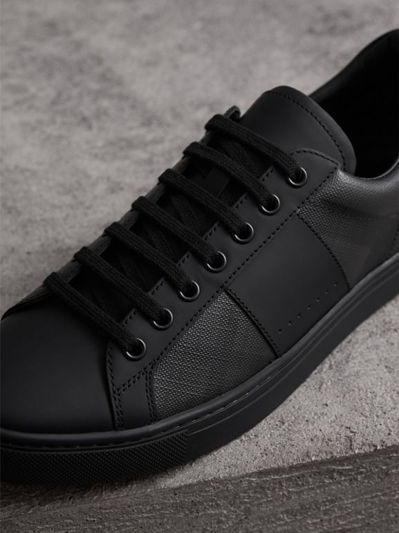 London Check and Leather Sneakers in Charcoal - Men | Burberry United States - cell image 1