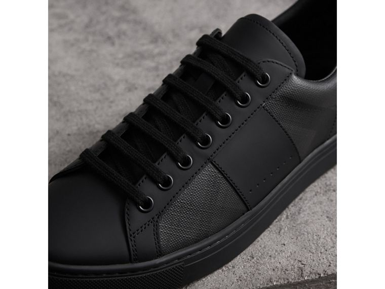 Check Detail Leather Trainers in Charcoal - Men | Burberry - cell image 1
