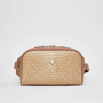 Fish scale Print and Leather Cube Bum Bag in Light Sand Women   Burberry