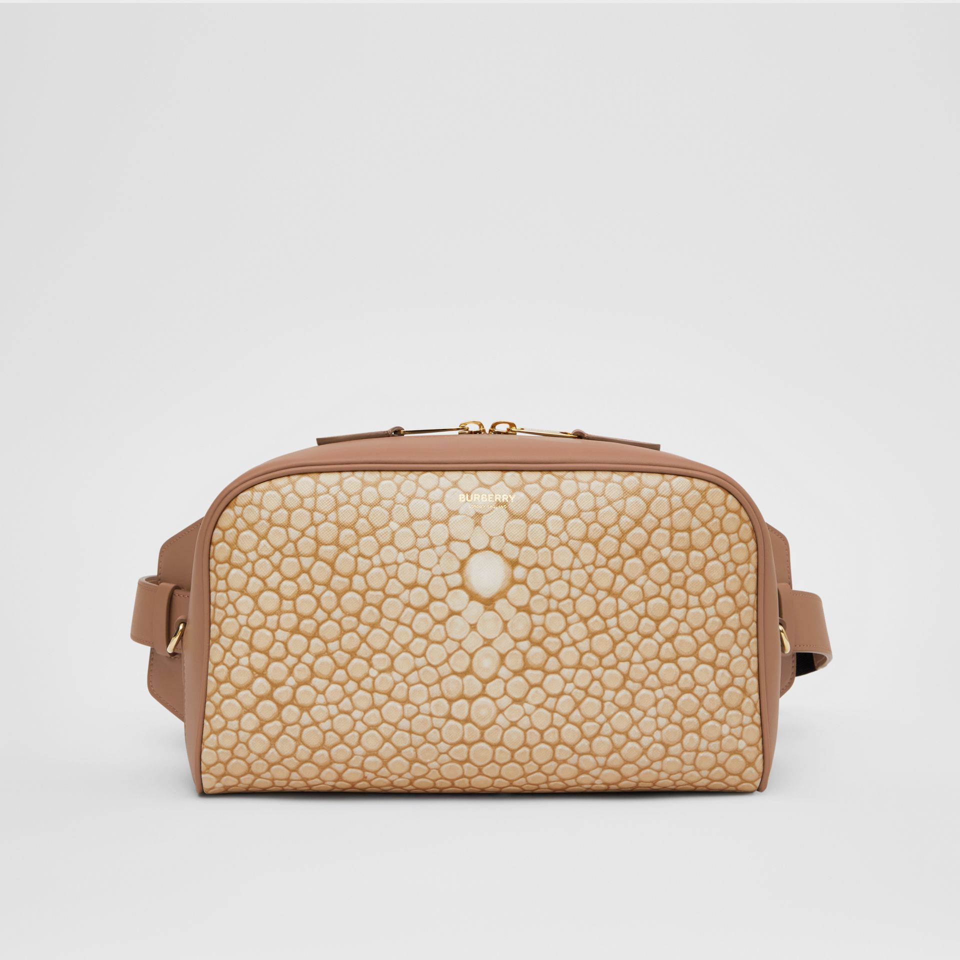 Fish-scale Print and Leather Cube Bum Bag in Light Sand - Women | Burberry Australia - gallery image 0