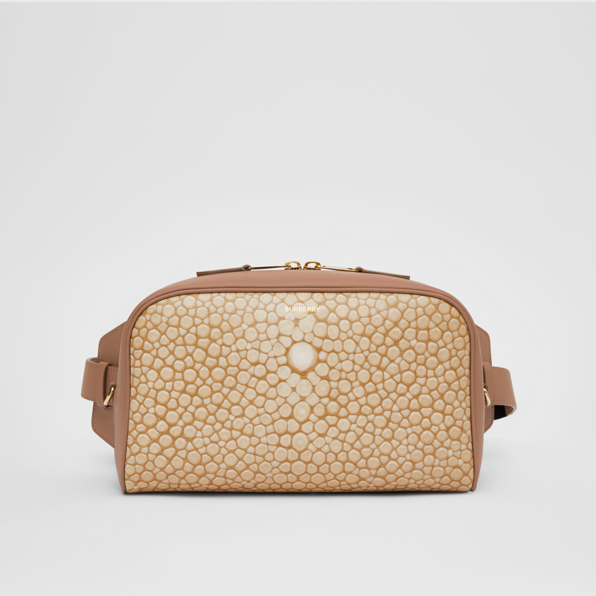 Fish-scale Print and Leather Cube Bum Bag in Light Sand - Women | Burberry - 1