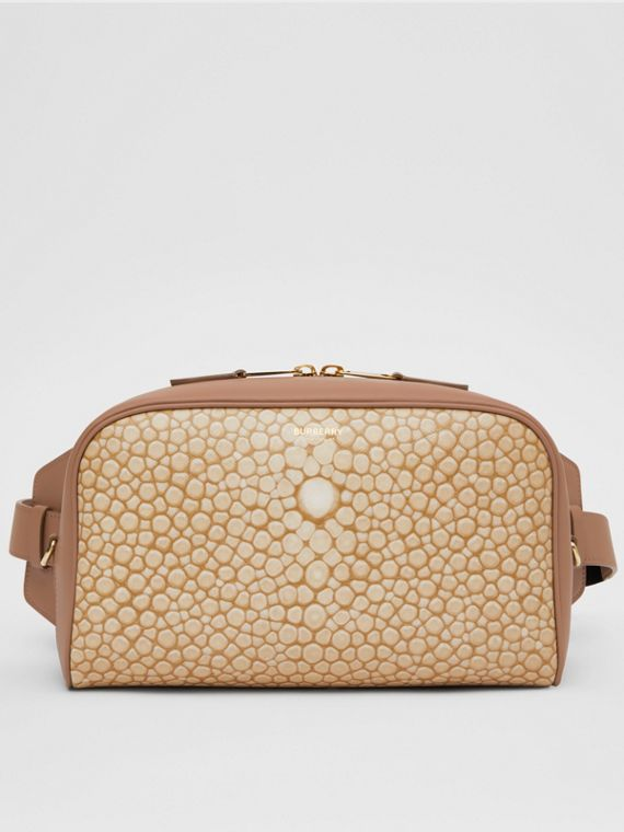Fish-scale Print and Leather Cube Bum Bag in Light Sand