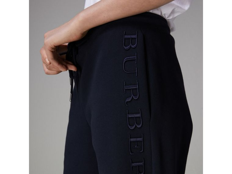 Embroidered Jersey Sweatpants in Navy - Women | Burberry United Kingdom - cell image 1