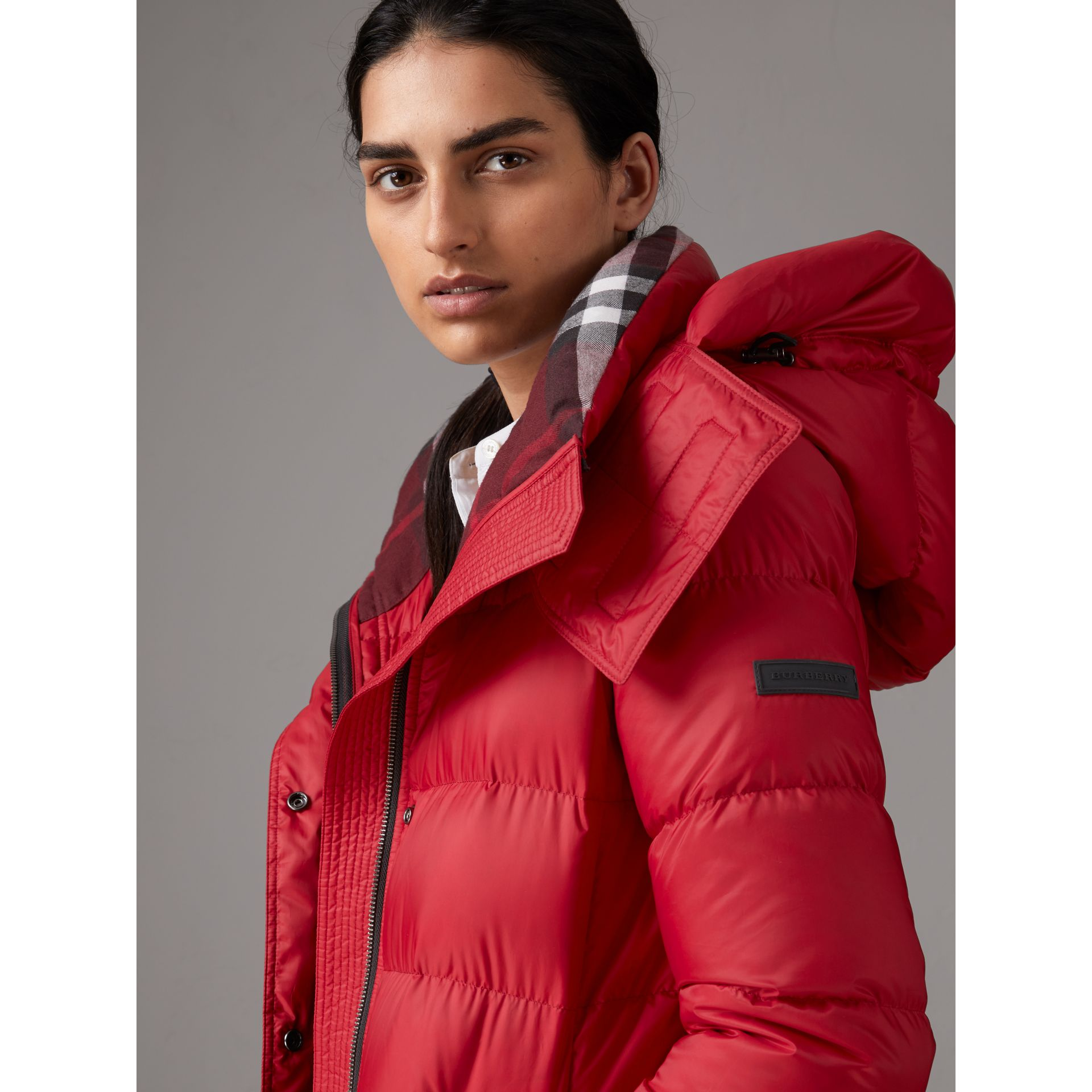 Down-filled Puffer Coat With Detachable Hood in Parade Red - Women | Burberry United Kingdom - gallery image 6