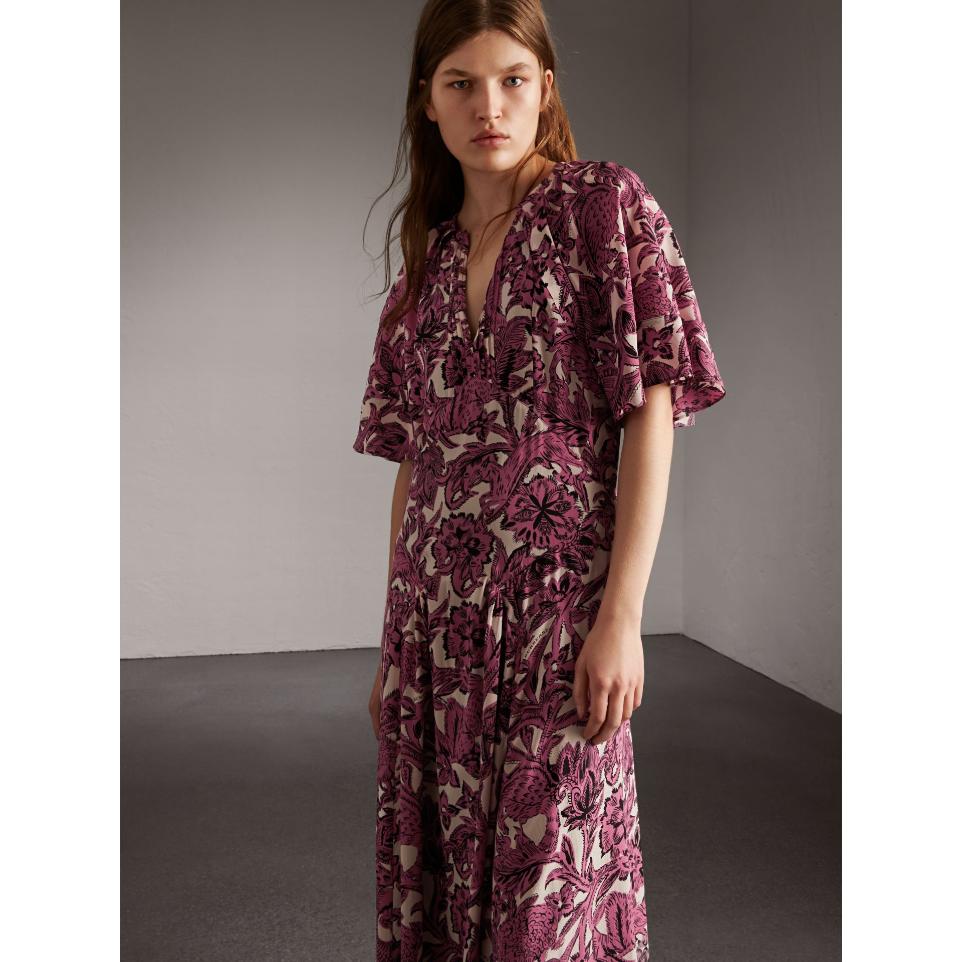 Beasts Print Deep V-neck Silk Longline Dress in Pink Azalea - Women | Burberry - gallery image 5