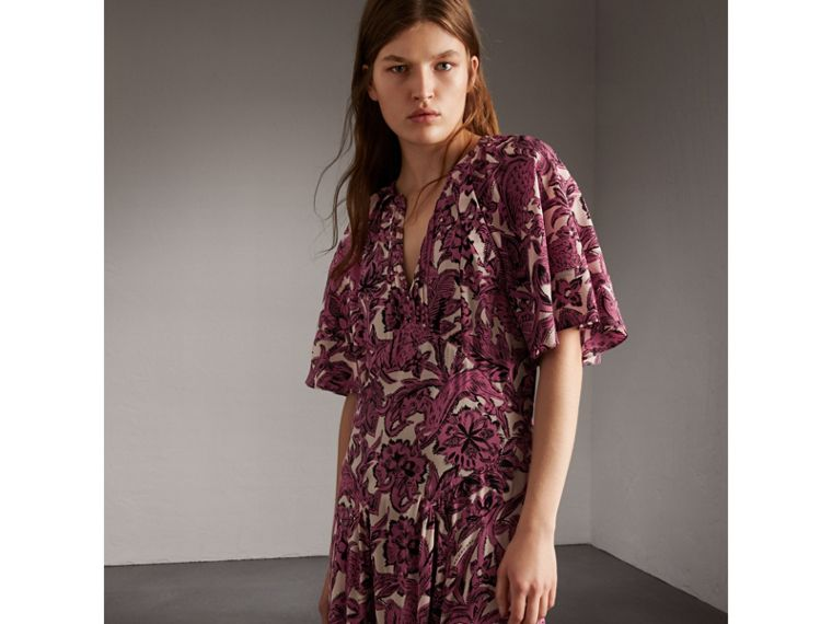 Beasts Print Deep V-neck Silk Longline Dress in Pink Azalea - Women | Burberry - cell image 4