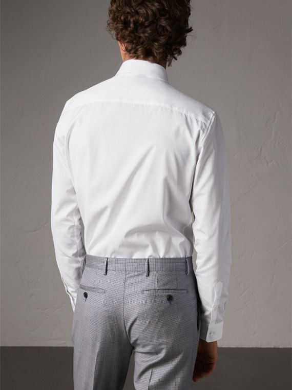 Slim Fit Cotton Poplin Shirt in White - Men | Burberry Hong Kong - cell image 2