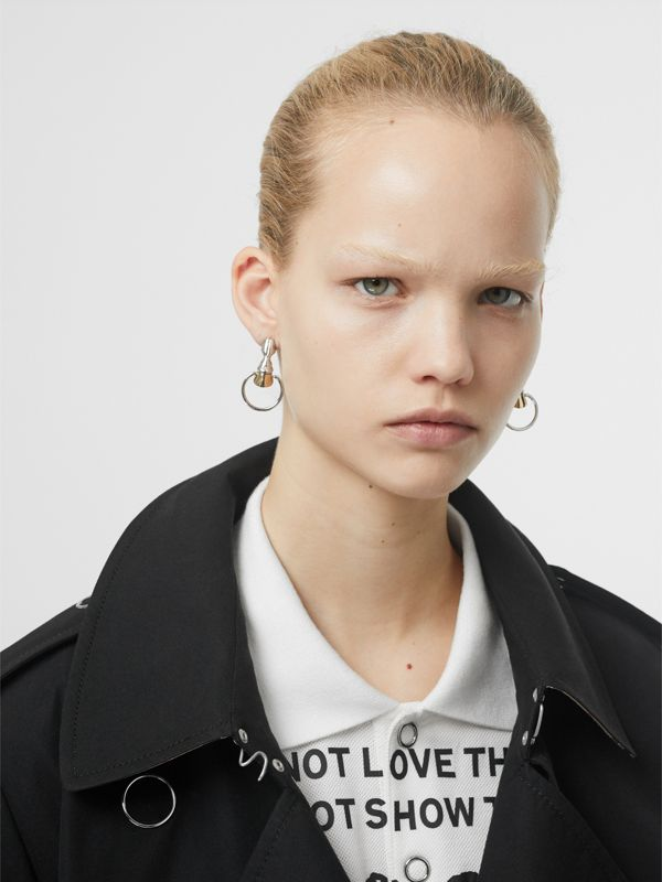 Palladium and Gold-plated Hoof Hoop Earrings in Palladium/light - Women | Burberry Australia - cell image 2
