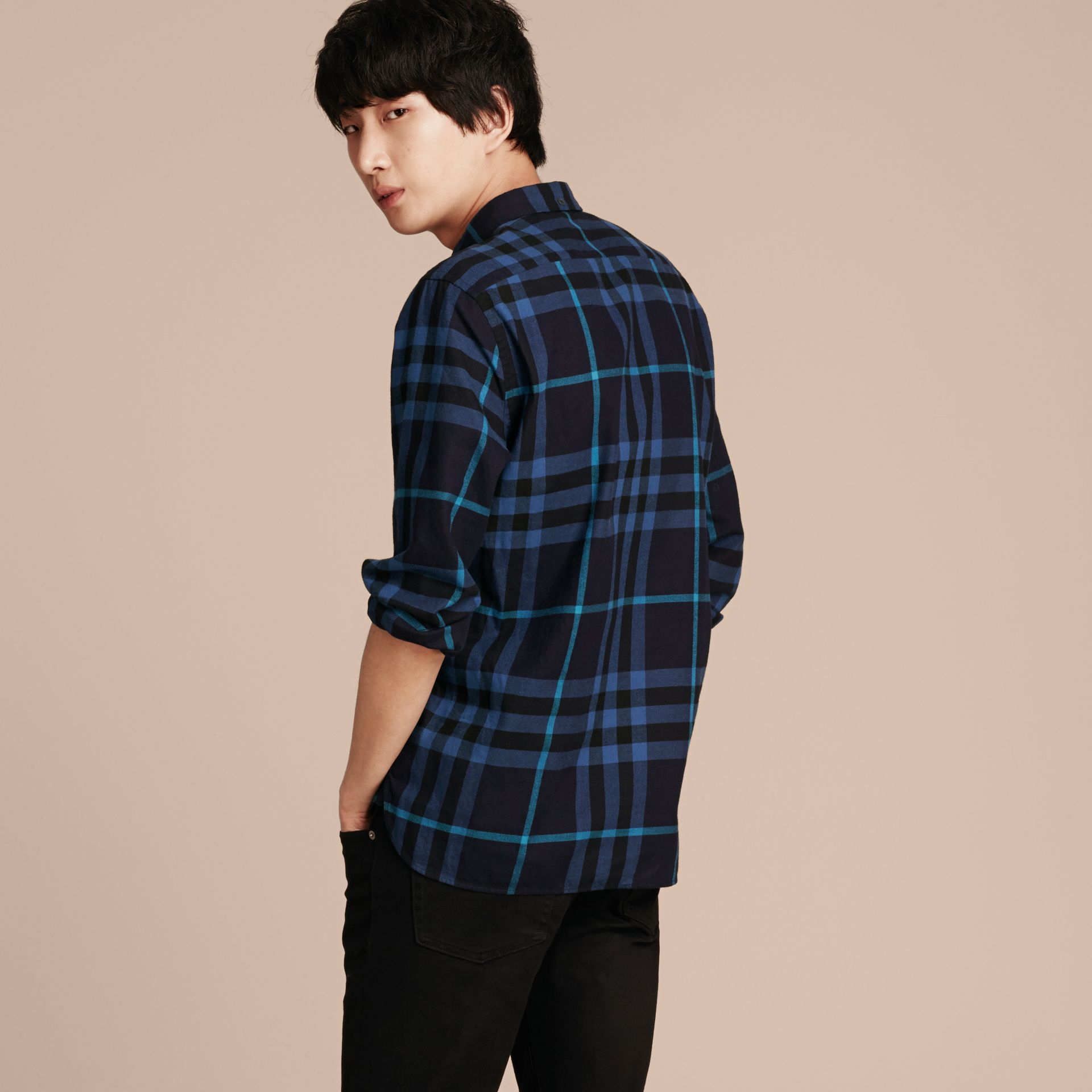 Bright navy Check Cotton Flannel Shirt Bright Navy - gallery image 3