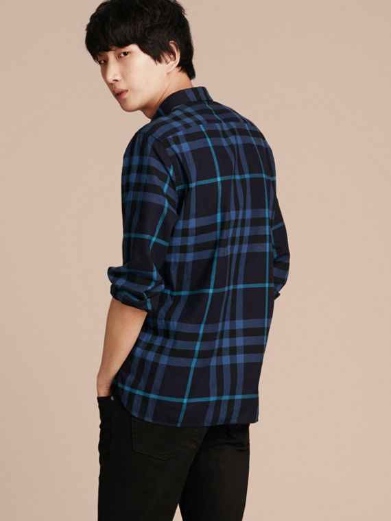 Bright navy Check Cotton Flannel Shirt Bright Navy - cell image 2