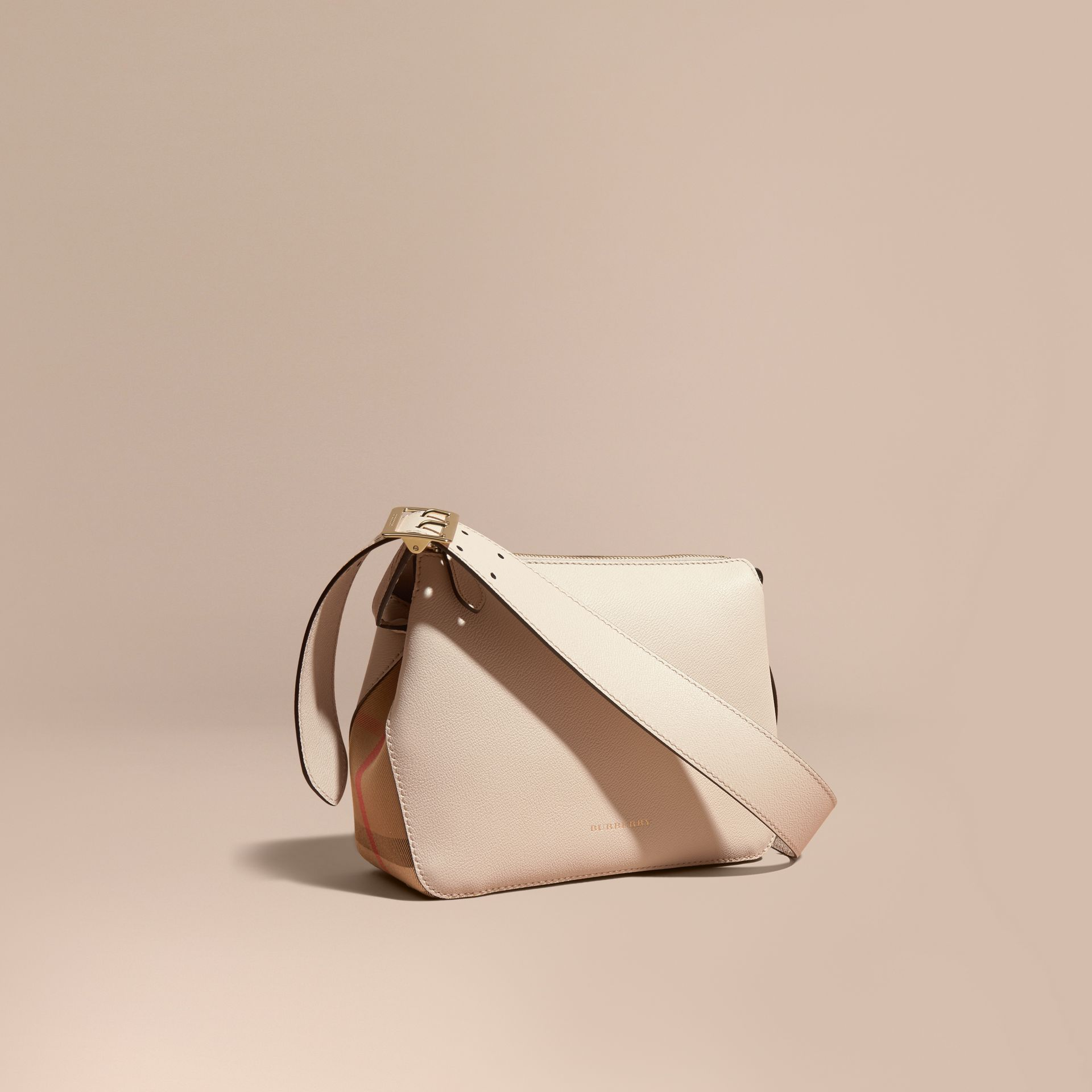 Buckle Detail Leather and House Check Crossbody Bag in Limestone - Women | Burberry - gallery image 1