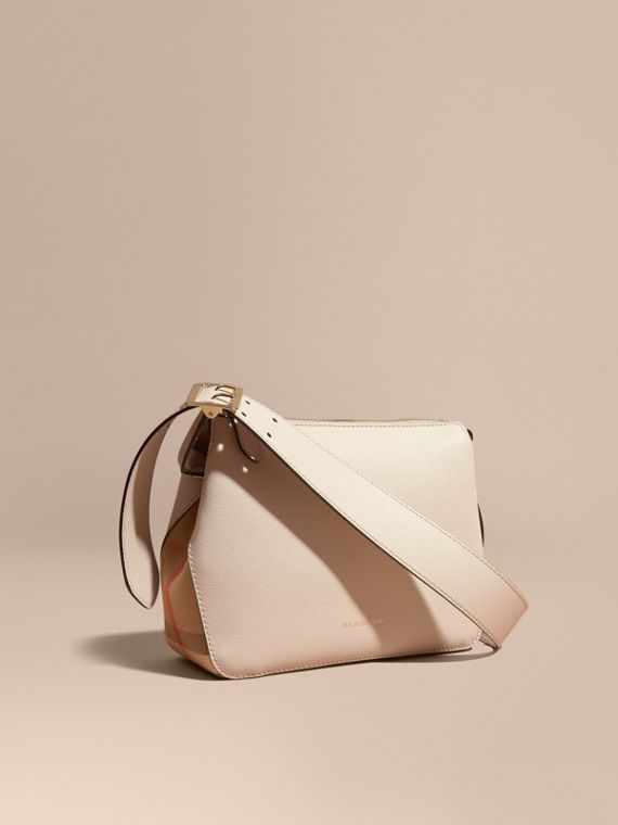 Buckle Detail Leather and House Check Crossbody Bag in Limestone