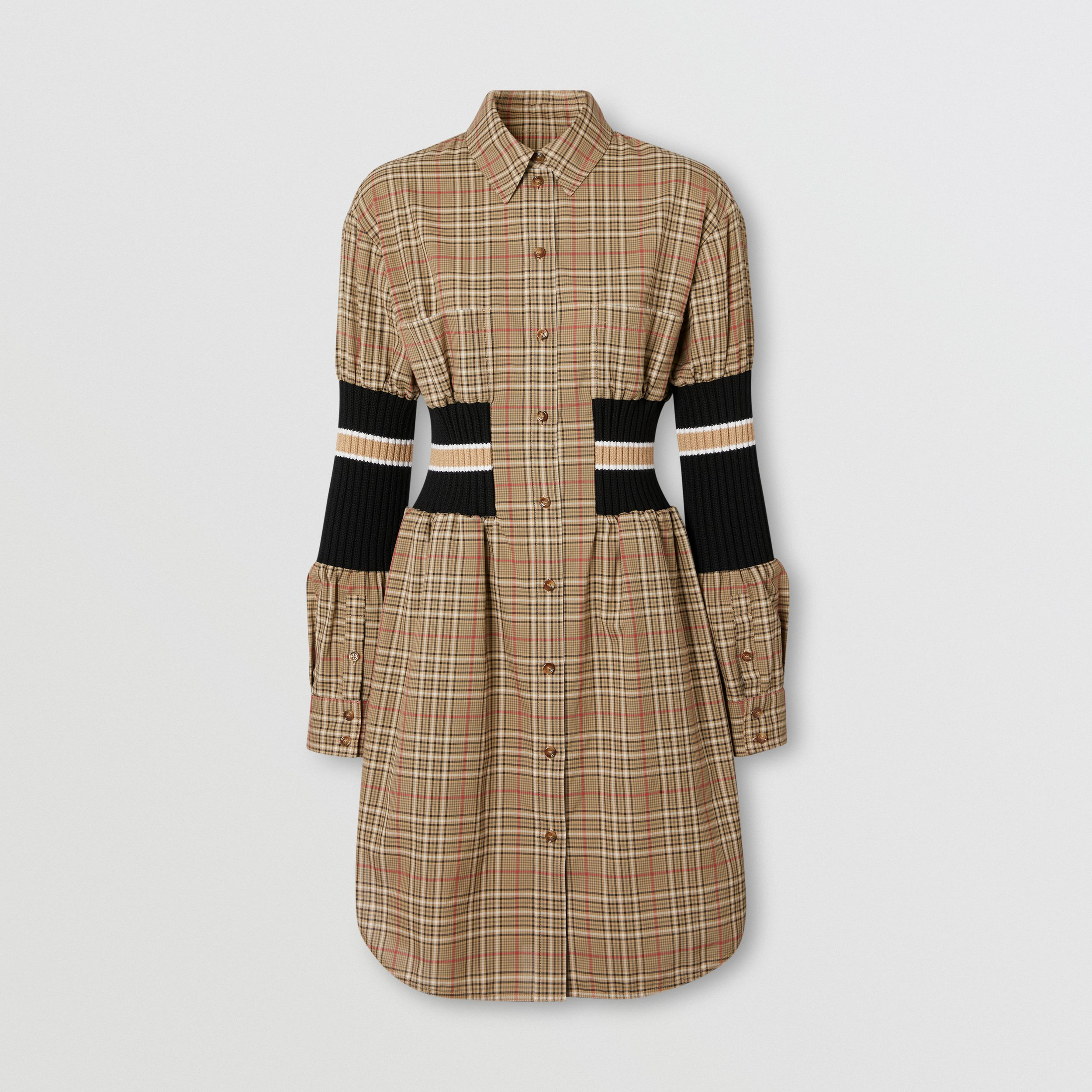 Rib Knit Panel Check Cotton Poplin Shirt Dress in Soft Fawn - Women | Burberry - 4