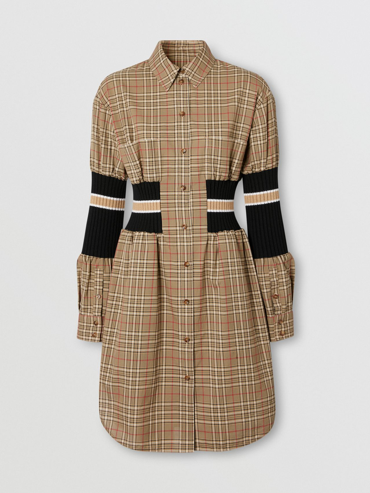 Rib Knit Panel Check Cotton Poplin Shirt Dress in Soft Fawn