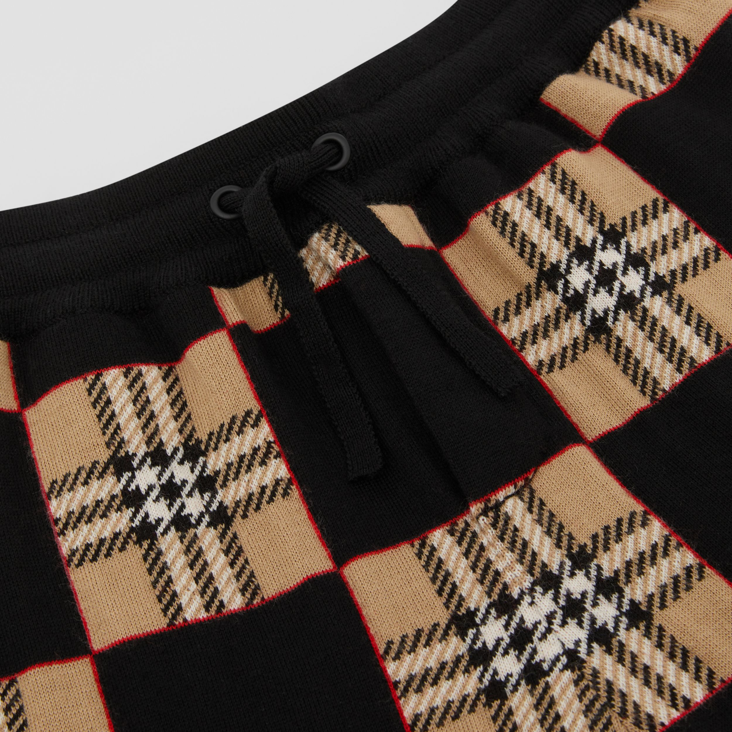 Chequer Merino Wool Jacquard Shorts in Archive Beige | Burberry - 2