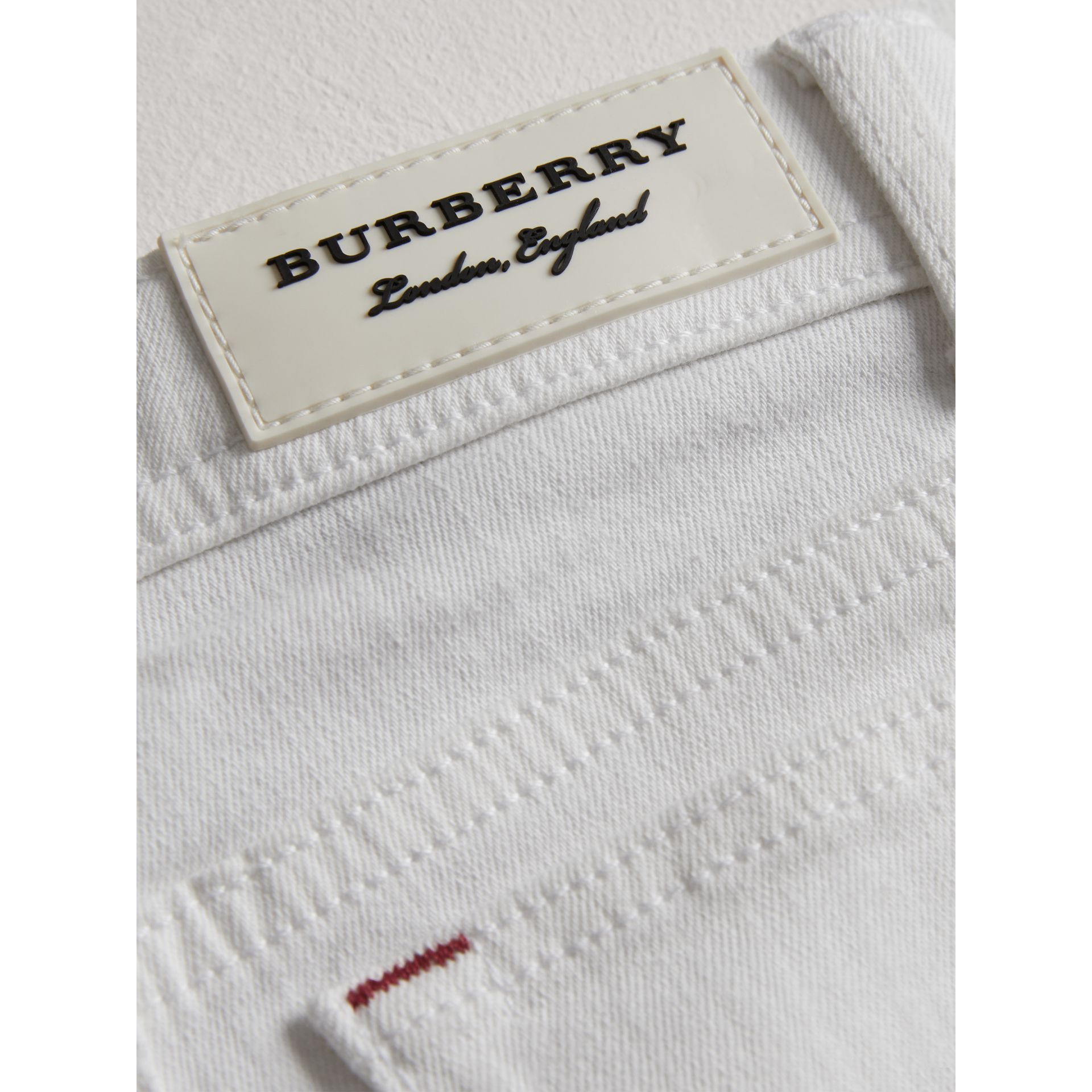 Skinny Fit Stretch Jeans in White | Burberry - gallery image 1
