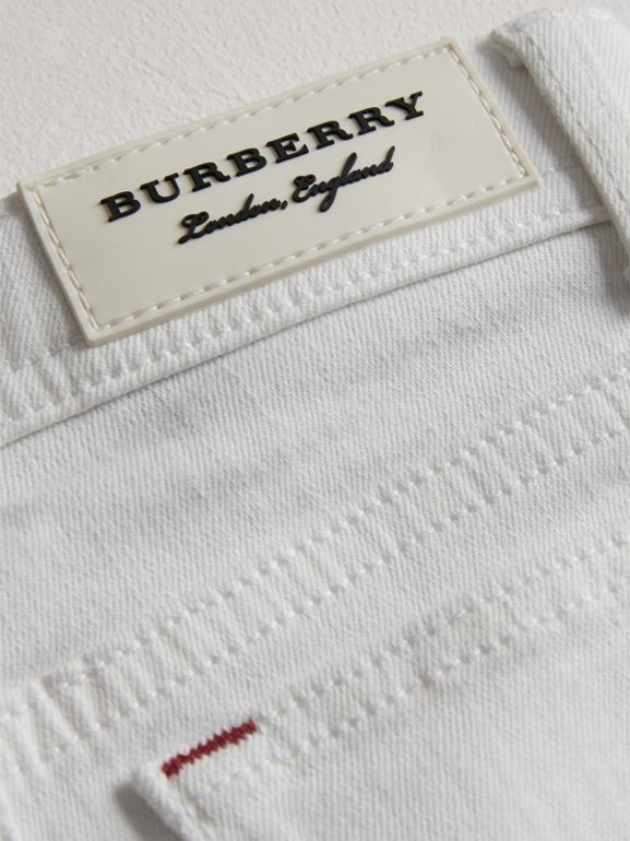 Skinny Fit Stretch Jeans in White - Girl | Burberry - cell image 1