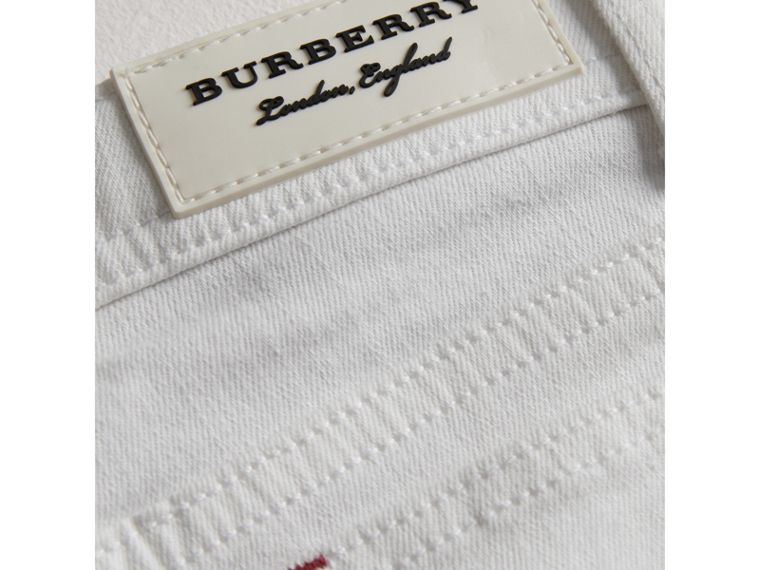 Skinny Fit Stretch Jeans in White - Girl | Burberry United States - cell image 1